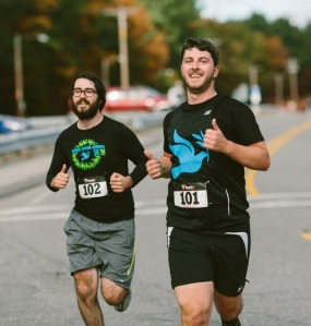 Running in the Memorial 5K with my brother Steve (left)